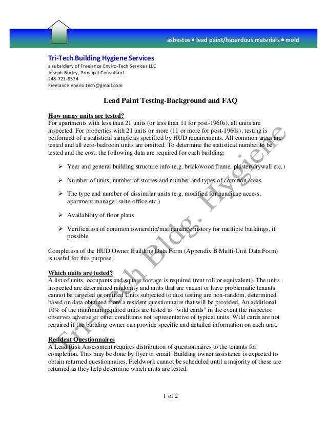 Tri-Tech Building Hygiene Services a subsidiary of Freelance Enviro-Tech Services LLC Joseph Burley, Principal Consultant ...