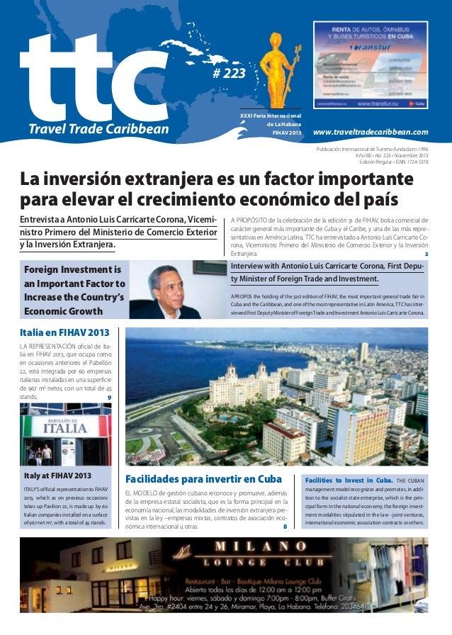 # 223 XXXI Feria Internacional de La Habana FIHAV 2013  www.traveltradecaribbean.com Publicación Internacional de Turismo ...