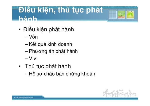 www.themegallery.com ði u ki n, th t c phát hành • ði u ki n phát hành – V n – K t qu kinh doanh – Phương án phát hành – V...