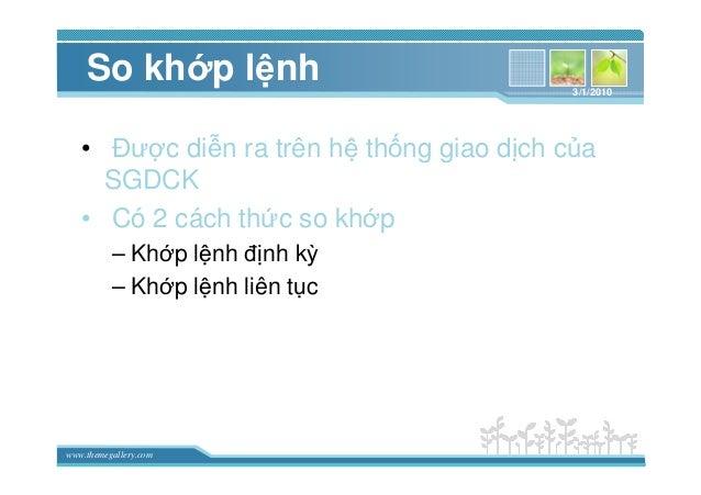 www.themegallery.com So kh p l nh • ðư c di n ra trên h th ng giao d ch c a SGDCK • Có 2 cách th c so kh p – Kh p l nh ñ n...