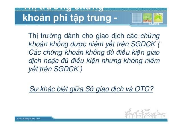 www.themegallery.com Th trư ng ch ng khoán phi t p trung - OTC Th trư ng dành cho giao d ch các ch ng khoán không ñư c niê...