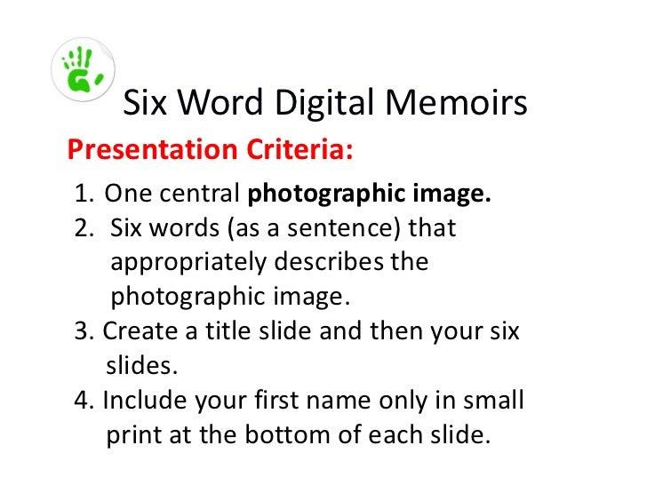 TTC - Six Word Digital Memoirs:Food Slide 2