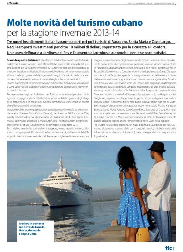 turismo  Travel Trade Caribbean Anno XIII Numero 222 Ottobre 2013  IL TRIANGOLO DEL SOLE È OPERATIVO PER IL TURISMO  'infr...