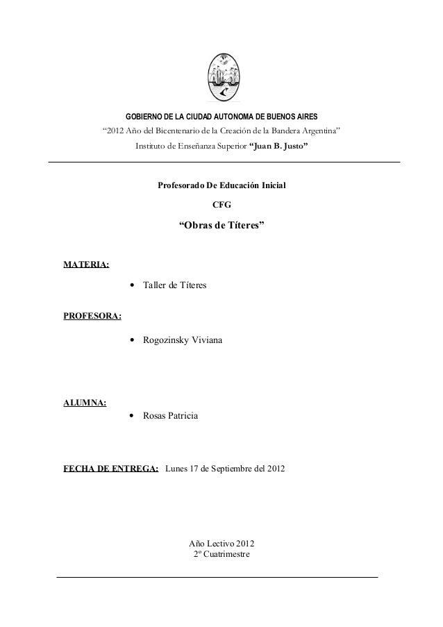 """GOBIERNO DE LA CIUDAD AUTONOMA DE BUENOS AIRES        """"2012 Año del Bicentenario de la Creación de la Bandera Argentina""""  ..."""