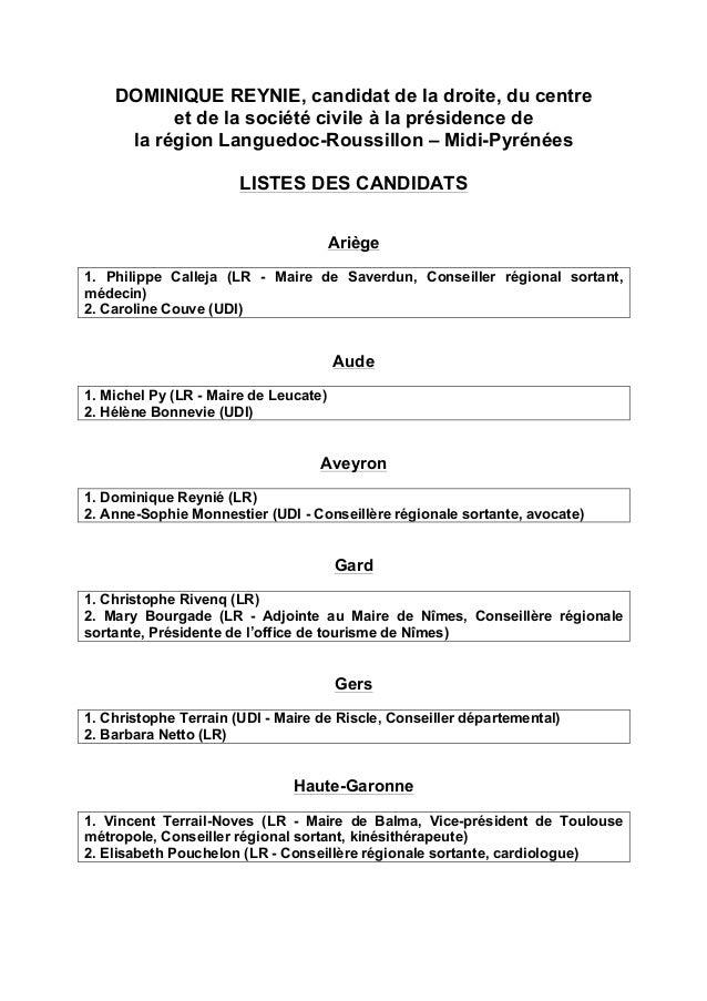 DOMINIQUE REYNIE, candidat de la droite, du centre et de la société civile à la présidence de la région Languedoc-Roussill...