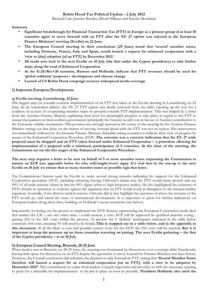 Robin Hood Tax Political Update - 2 July 2012                           Richard Carr, Jasmine Burnley, David Hillman and N...