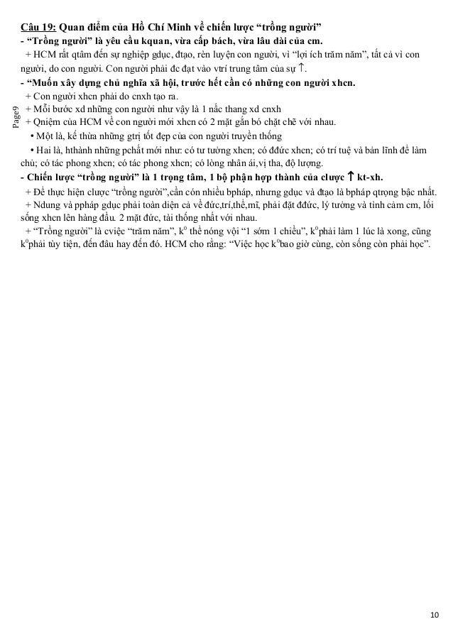 """Page9 Câu 19: Quan điểm của Hồ Chí Minh về chiến lược """"trồng người"""" - """"Trồng người"""" là yêu cầu kquan, vừa cấp bách, vừa lâ..."""