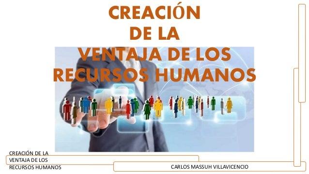 CREACIÓN DE LA VENTAJA DE LOS RECURSOS HUMANOS CARLOS MASSUH VILLAVICENCIO CREACIÓN DE LA VENTAJA DE LOS RECURSOS HUMANOS