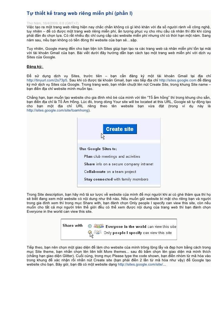 Tự thiết kế trang web riêng miễn phí (phần I) Thứ Năm, 16/4/2009, 6:8 (GMT+7) Việc tạo ra một trang web riêng hiện nay chắ...