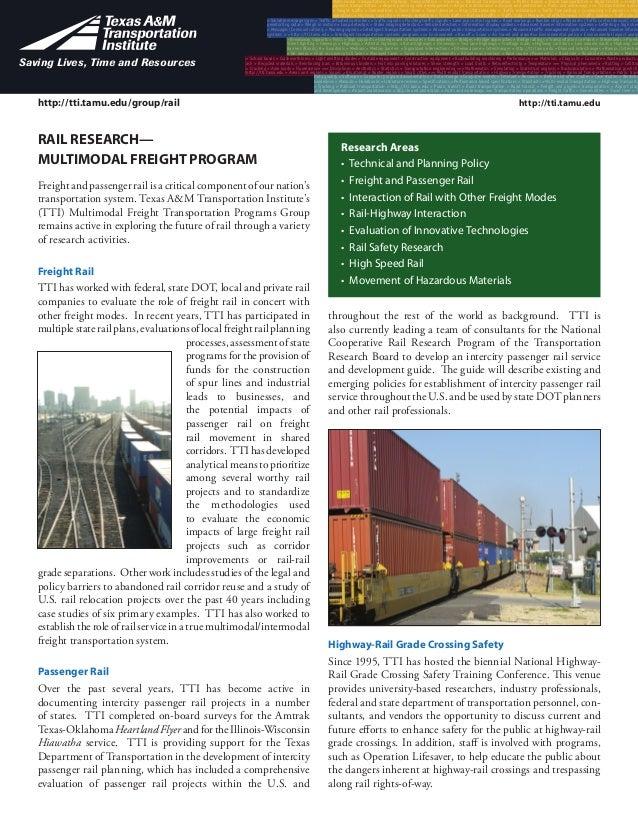 http://tti.tamu.edu Multi-modal Transportation > Highway Transportation > Trucking > Railroad transportation > Public tran...