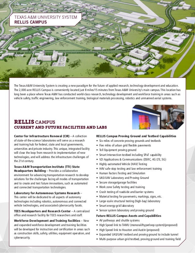 TEXAS A&M UNIVERSITY SYSTEM RELLIS CAMPUS	 The Texas A&M University System is creating a new paradigm for the future of ap...