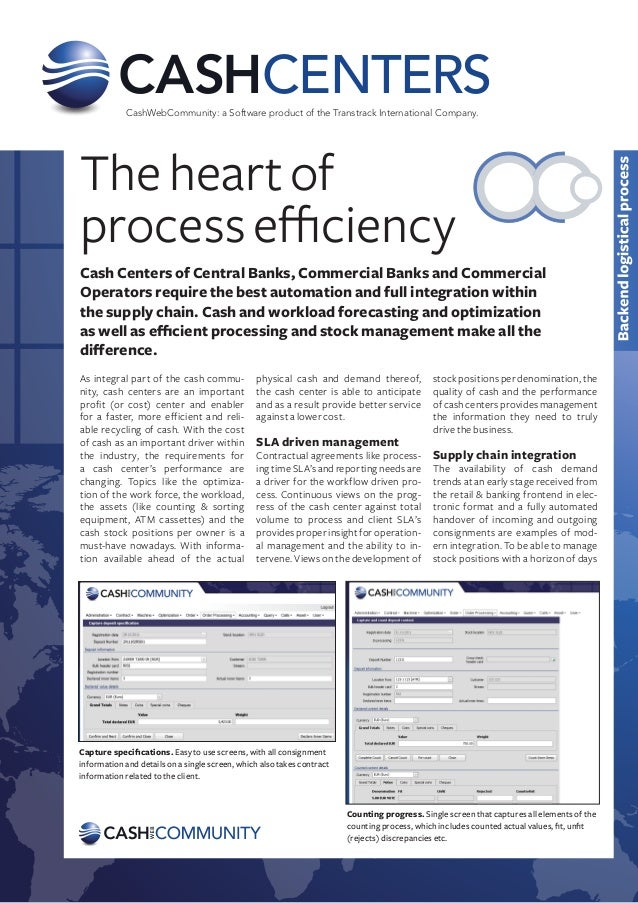 CENTERS            CashWebCommunity: a Software product of the Transtrack International Company.The heart ofprocess effici...