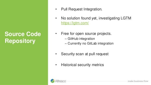 Source Code Repository • Pull Request Integration. • No solution found yet, investigating LGTM https://lgtm.com/ • Free fo...