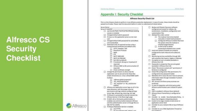 Alfresco CS Security Checklist
