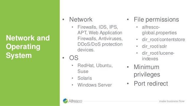 • Network • Firewalls, IDS, IPS, APT, Web Application Firewalls, Antiviruses, DDoS/DoS protection devices. • OS • RedHat, ...
