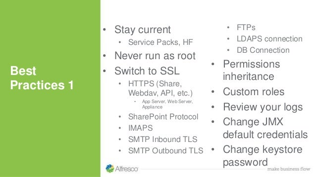 • Stay current • Service Packs, HF • Never run as root • Switch to SSL • HTTPS (Share, Webdav, API, etc.) • App Server, We...