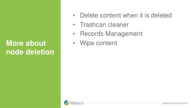 • Delete content when it is deleted • Trashcan cleaner • Records Management • Wipe contentMore about node deletion
