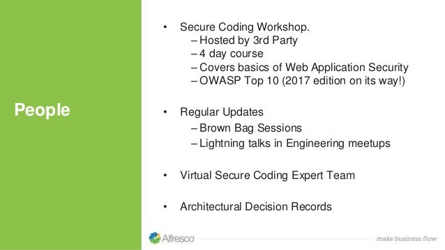 People • Secure Coding Workshop. – Hosted by 3rd Party – 4 day course – Covers basics of Web Application Security – OWASP ...