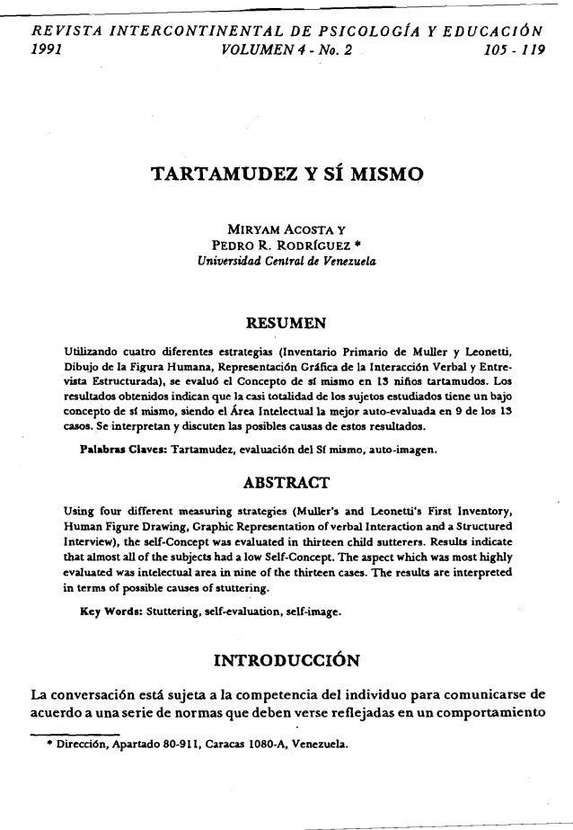 REVISTA INTERCONTINENTAL DE PSICOLOciA Y EDUCACJ6N 1991 VOLUMEN 4 - No.2 105 - 119 TARTAMUDEZ Y sf MISMO MIRYAM ACOSTA Y  ...