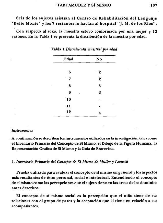 """107TARTAMUDEZ YSi MISMO Seis de los sujetos asistfan al Centro de Rehabilitaci6n del Lenguaje """"Bello Monte"""" y los 7 restan..."""