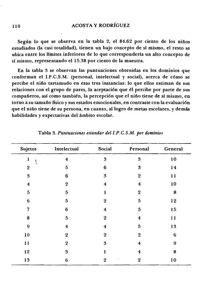 110 ACOSTA Y RODRIGUEZ Segun 10 que se observa en la tabla 2, el 84.62 por ciento de los nmos estudiados (la casi totalida...