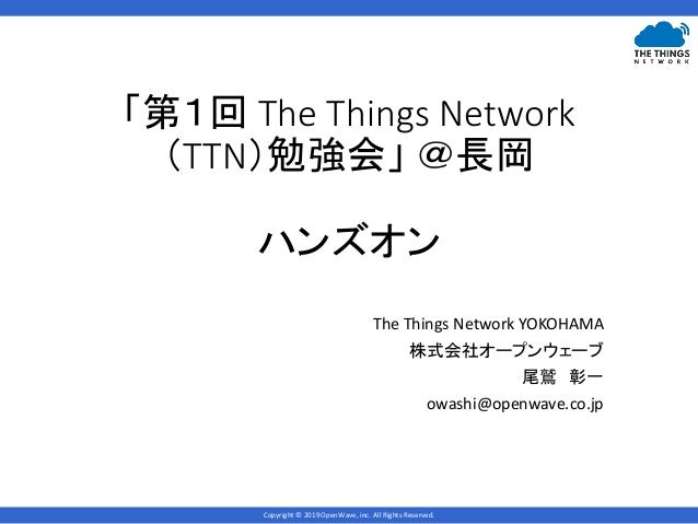 Copyright © 2019 OpenWave, inc. All Rights Reserved. 「第1回 The Things Network (TTN)勉強会」 @長岡 ハンズオン The Things Network YOKOHA...