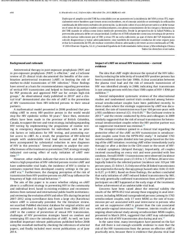 e64 A. Mozalevskis et al. / Enferm Infecc Microbiol Clin. 2015;33(9):e63–e68 Dado que el amplio uso del TAR ha coincidido ...