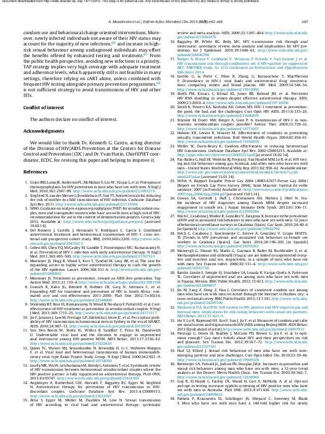 A. Mozalevskis et al. / Enferm Infecc Microbiol Clin. 2015;33(9):e63–e68 e67 condom use and behavioural change oriented in...