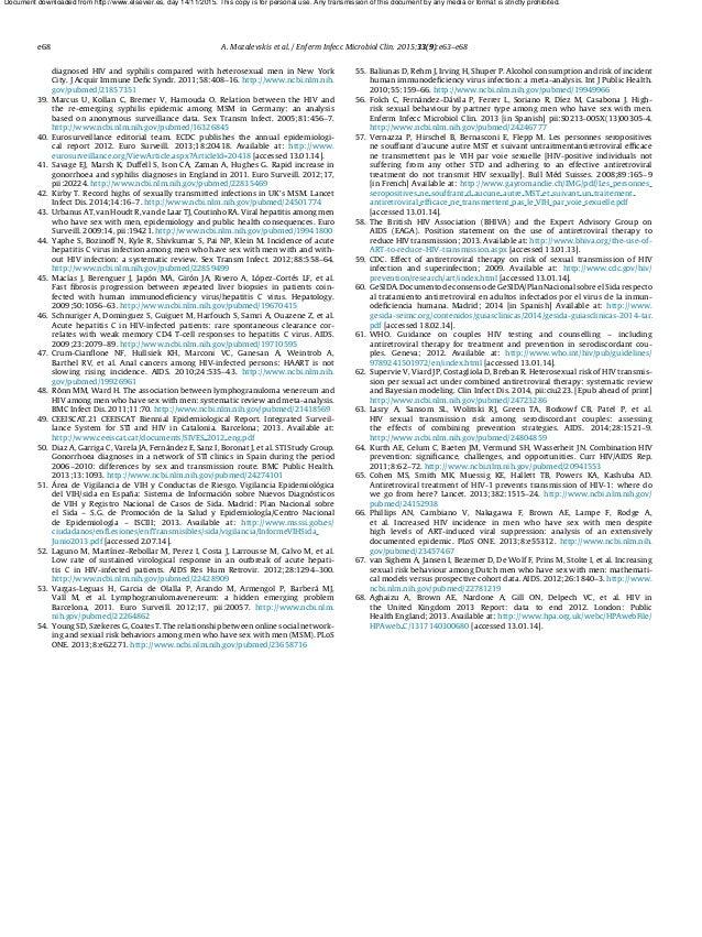 e68 A. Mozalevskis et al. / Enferm Infecc Microbiol Clin. 2015;33(9):e63–e68 diagnosed HIV and syphilis compared with hete...