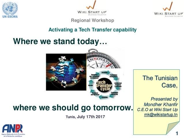Where we stand today… where we should go tomorrow. 1 Regional Workshop Activating a Tech Transfer capability The Tunisian ...