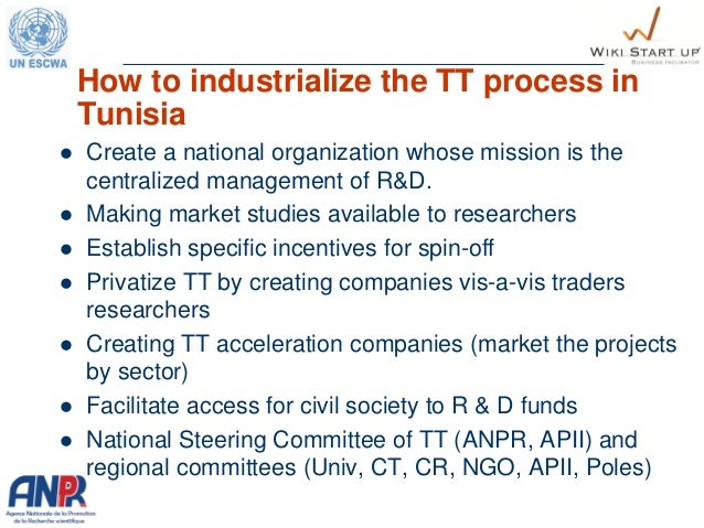 How to industrialize the TT process in Tunisia  Create a national organization whose mission is the centralized managemen...