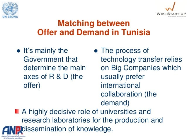 Matching between Offer and Demand in Tunisia  It's mainly the Government that determine the main axes of R & D (the offer...