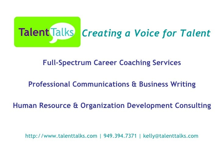 Full-Spectrum Career Coaching Services Professional Communications & Business Writing Human Resource & Organization Develo...