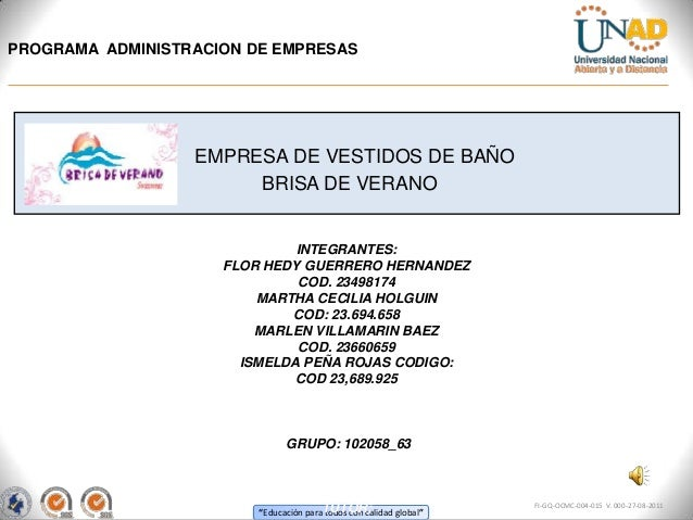 PROGRAMA ADMINISTRACION DE EMPRESAS                  EMPRESA DE VESTIDOS DE BAÑO                       BRISA DE VERANO    ...