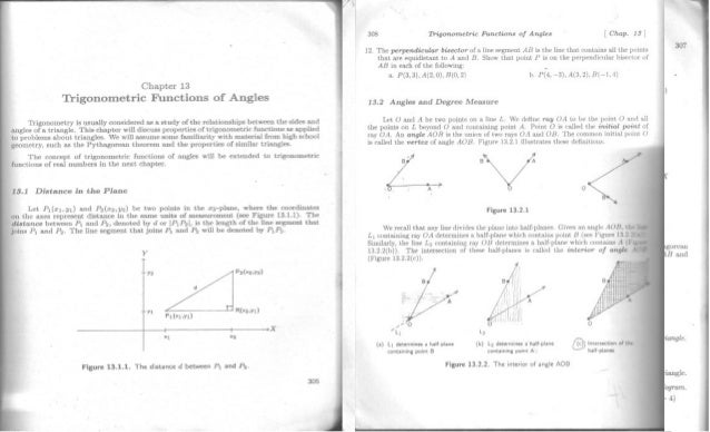 Chapter 13 Trigonometric Functions of Angles  Tirigonometry is usually considered as a study of the relationships between ...