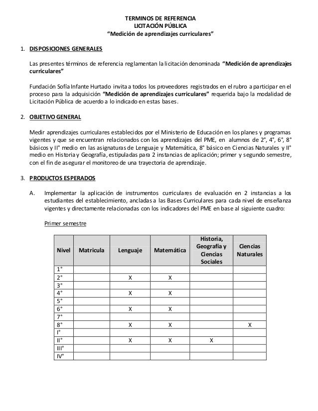 """TERMINOS DE REFERENCIA LICITACIÓN PÚBLICA """"Medición de aprendizajes curriculares"""" 1. DISPOSICIONES GENERALES Las presentes..."""