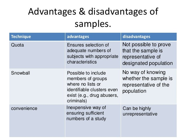 List some possible advantages disadvantages