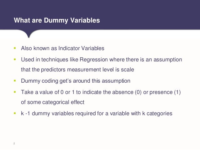 Tech Tip: Creating Dummy variables in IBM SPSS Statistics