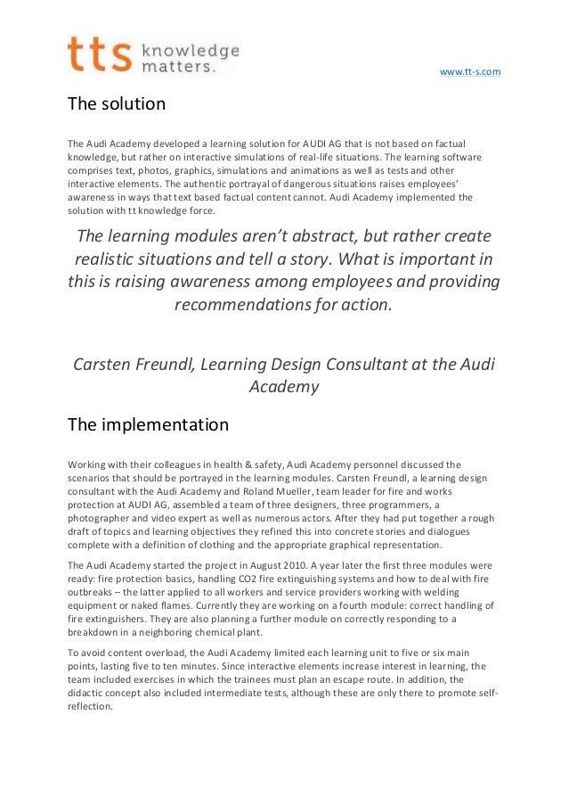 How Audi offers firefighting training via storytelling learning Slide 2