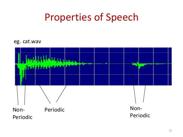 Properties of Speech PeriodicNon- Periodic Non- Periodic eg. cat.wav 11