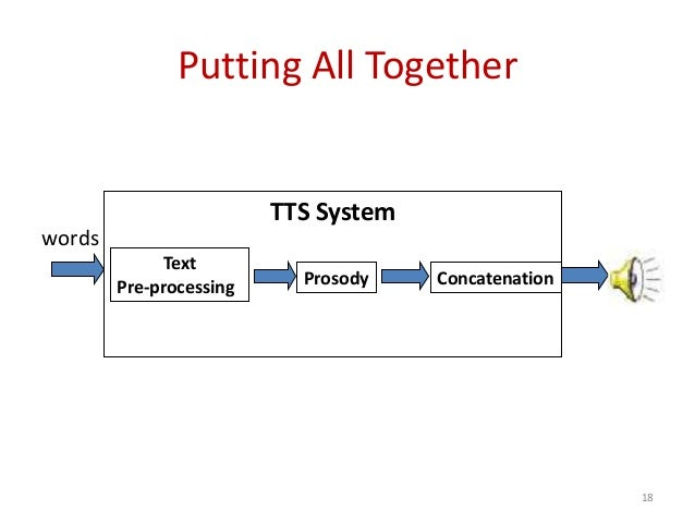Putting All Together TTS System Text Pre-processing Prosody Concatenation words 18