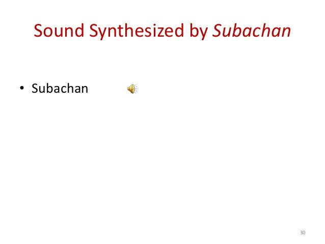Sound Synthesized by Subachan • Subachan 30