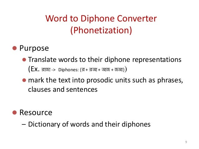 Word to Diphone Converter (Phonetization)  Purpose  Translate words to their diphone representations (Ex. রাজা -> Diphon...