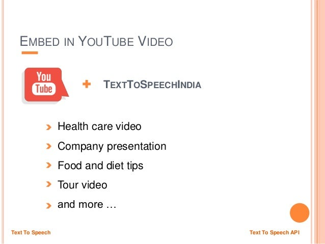 EMBED IN YOUTUBE VIDEO TEXTTOSPEECHINDIA Health care video Company presentation Food and diet tips Tour video and more … T...