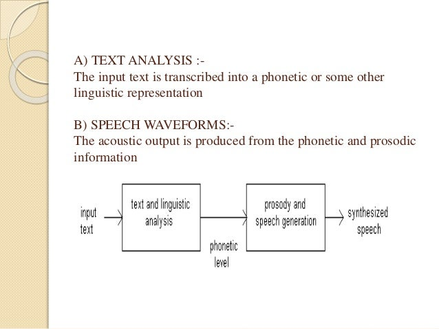 A) TEXT ANALYSIS :-  The input text is transcribed into a phonetic or some other  linguistic representation  B) SPEECH WAV...