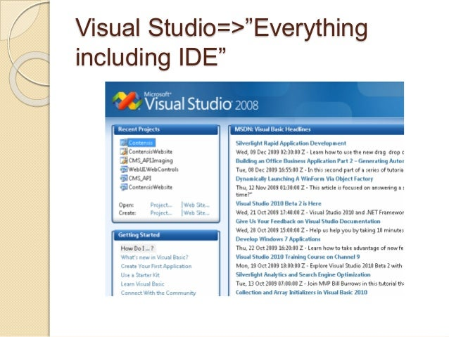 "Visual Studio=>""Everything  including IDE"""