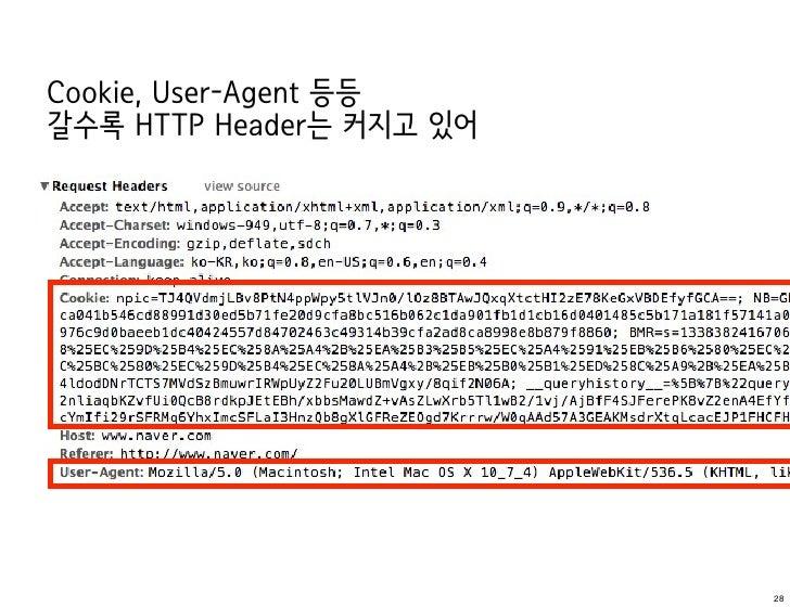 Cookie, User-Agent 등등갈수록 HTTP Header는 커지고 있어                          28