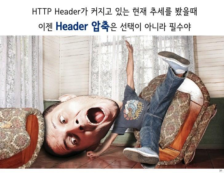 HTTP Header가 커지고 있는 현재 추세를 봤을때 이젠 Header   압축은 선택이 아니라 필수야                                 31
