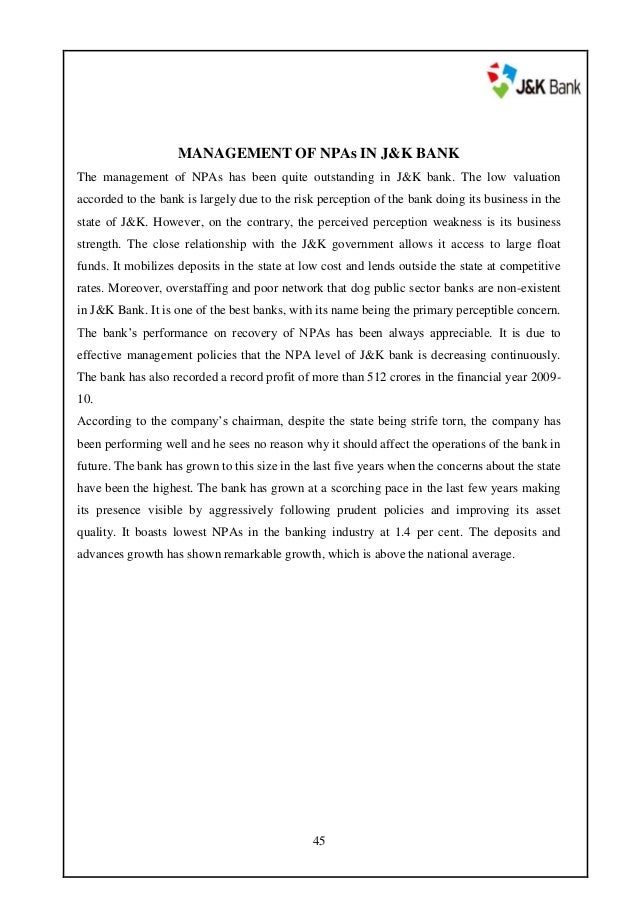project report on j k bank Analyst reports covering j&k bank's shares annual reports annual reports annual report for the year ended march 2017.