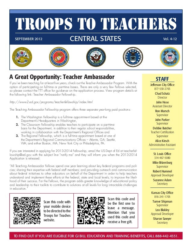 Troops to Teachers    SEPTEMBER 2012                              Central States                                         ...